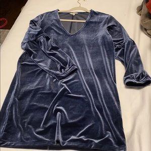 Velvet Ballon-Sleeve Mini Dress